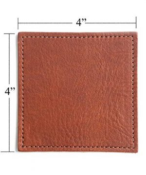 American Made Leather Coasters Premium Full Grain Leather Double Layered Square Rustic Brown Coaster Set 4x4 Handmade In The USA Set Of 4 0 3 300x360