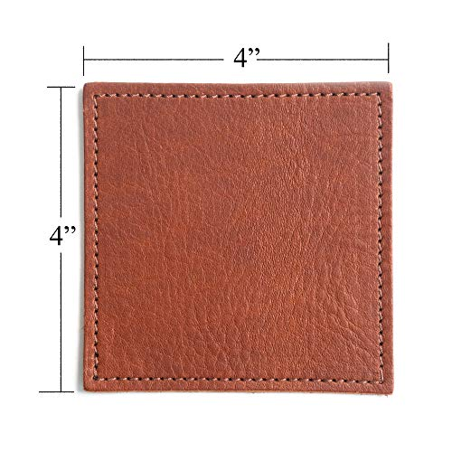 American Made Leather Coasters Premium Full Grain Leather Double Layered Square Rustic Brown Coaster Set 4x4 Handmade In The USA Set Of 4 0 3