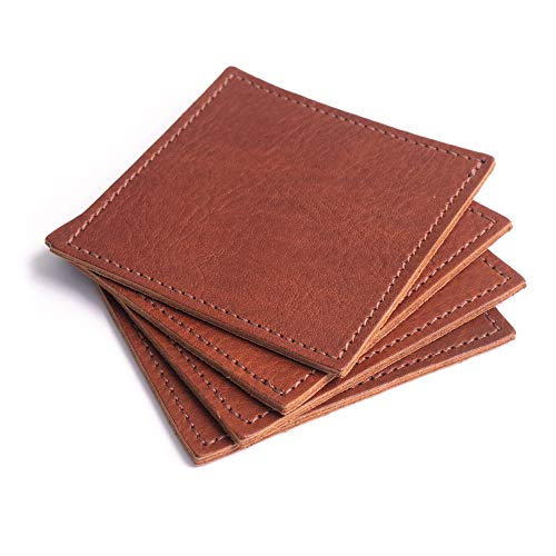 American Made Leather Coasters Premium Full Grain Leather Double Layered Square Rustic Brown Coaster Set 4x4 Handmade In The USA Set Of 4 0