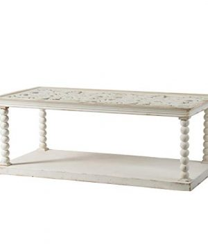 Antique White Scroll Top Wooden Coffee Table Vintage Wood 0 300x360