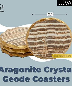 Aragonite Crystal Geode Coasters For Drinks Gold Edge Trim 4 In 4 Pack 0 0 300x360