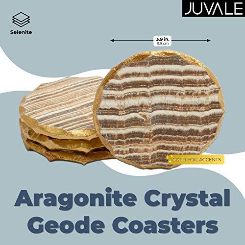 Aragonite Crystal Geode Coasters For Drinks Gold Edge Trim 4 In 4 Pack 0 0