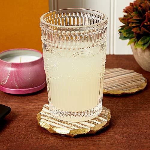 Aragonite Crystal Geode Coasters For Drinks Gold Edge Trim 4 In 4 Pack 0 1