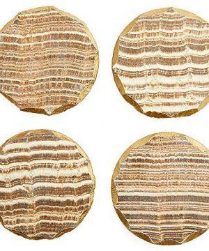 Aragonite Crystal Geode Coasters For Drinks Gold Edge Trim 4 In 4 Pack 0 2 300x360