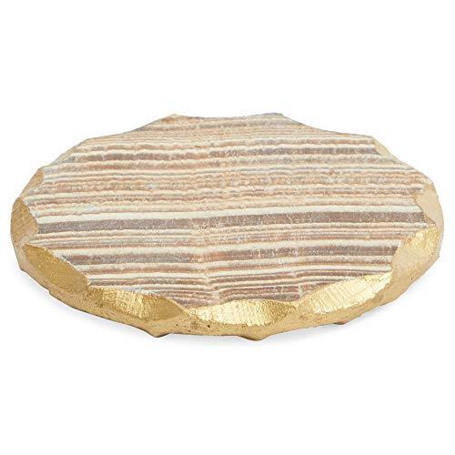Aragonite Crystal Geode Coasters For Drinks Gold Edge Trim 4 In 4 Pack 0 5