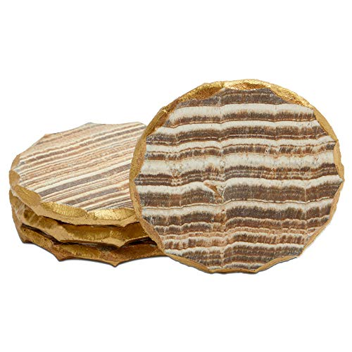 Aragonite Crystal Geode Coasters For Drinks Gold Edge Trim 4 In 4 Pack 0