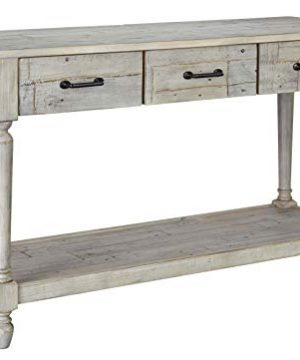 Benjara Wooden Frame Sofa Table With 3 Drawers And 1 Bottom Shelf White 0 300x360