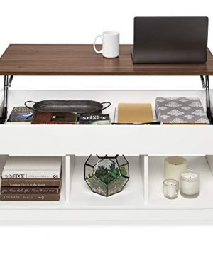 Best Choice Products Wooden Lift Top Coffee Table Multifunctional Accent Furniture For Living Room Decor WHidden Storage Display Shelves WhiteBrown 0 300x360