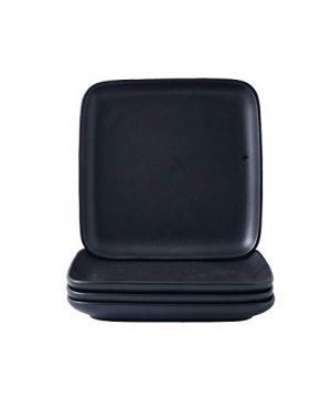 Bruntmor 10 Inch Set Of 4 Heavy Duty Ceramic Dinner Plates Elegant Matte Square Serving Dinner Plates For Pizza Steak Pasta Salad Dinner Plates Or Serving Trays Black 0 0 300x360