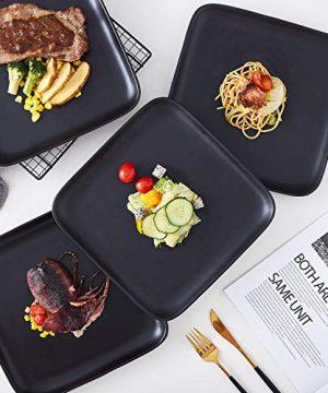 Bruntmor 10 Inch Set Of 4 Heavy Duty Ceramic Dinner Plates Elegant Matte Square Serving Dinner Plates For Pizza Steak Pasta Salad Dinner Plates Or Serving Trays Black 0 1 300x360