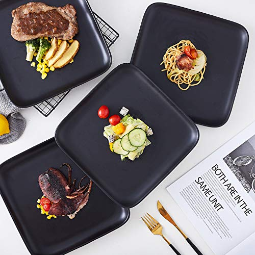 Bruntmor 10 Inch Set Of 4 Heavy Duty Ceramic Dinner Plates Elegant Matte Square Serving Dinner Plates For Pizza Steak Pasta Salad Dinner Plates Or Serving Trays Black 0 1