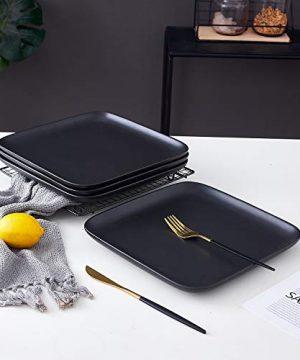 Bruntmor 10 Inch Set Of 4 Heavy Duty Ceramic Dinner Plates Elegant Matte Square Serving Dinner Plates For Pizza Steak Pasta Salad Dinner Plates Or Serving Trays Black 0 2 300x360