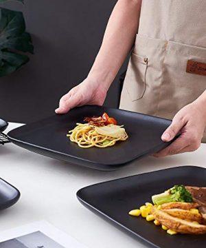 Bruntmor 10 Inch Set Of 4 Heavy Duty Ceramic Dinner Plates Elegant Matte Square Serving Dinner Plates For Pizza Steak Pasta Salad Dinner Plates Or Serving Trays Black 0 4 300x360