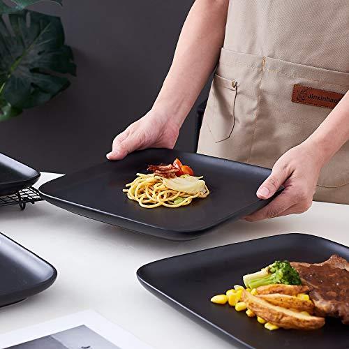 Bruntmor 10 Inch Set Of 4 Heavy Duty Ceramic Dinner Plates Elegant Matte Square Serving Dinner Plates For Pizza Steak Pasta Salad Dinner Plates Or Serving Trays Black 0 4