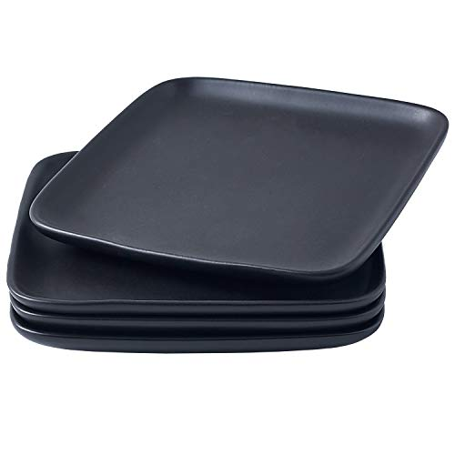 Bruntmor 10 Inch Set Of 4 Heavy Duty Ceramic Dinner Plates Elegant Matte Square Serving Dinner Plates For Pizza Steak Pasta Salad Dinner Plates Or Serving Trays Black 0