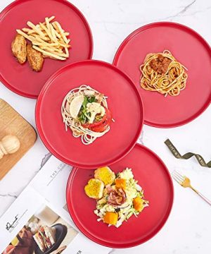 Bruntmor Set Of 4 Elegant Matte 11 Round Ceramic Restaurant Serving Dinner Plates Red 0 1 300x360