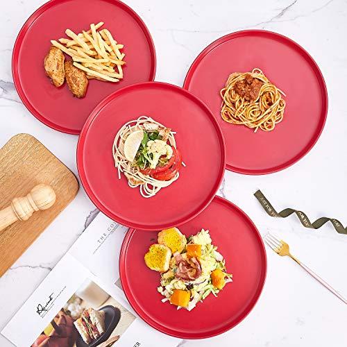 Bruntmor Set Of 4 Elegant Matte 11 Round Ceramic Restaurant Serving Dinner Plates Red 0 1