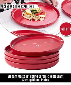 Bruntmor Set Of 4 Elegant Matte 11 Round Ceramic Restaurant Serving Dinner Plates Red 0 3 300x360