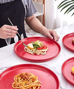 Bruntmor Set Of 4 Elegant Matte 11 Round Ceramic Restaurant Serving Dinner Plates Red 0 4 300x360
