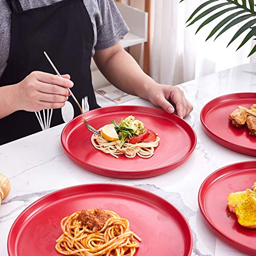 Bruntmor Set Of 4 Elegant Matte 11 Round Ceramic Restaurant Serving Dinner Plates Red 0 4