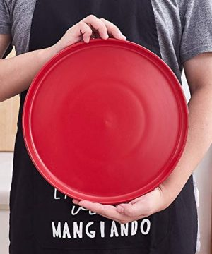 Bruntmor Set Of 4 Elegant Matte 11 Round Ceramic Restaurant Serving Dinner Plates Red 0 5 300x360