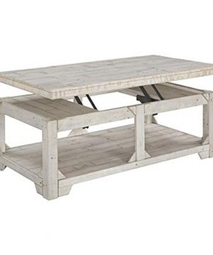Casual Lift Top Cocktail Table Whitewash White Rectangle Pine Wood Finish 0 300x360