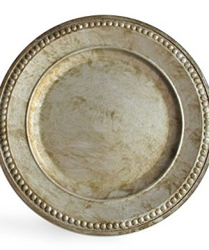Charge It By Jay Randall Set Of 4 Charger Large Decorative Melamine Service Plate For Home Professional Fine Dining For Upscale Catering Events Dinner Parties 14 Rustic Silver 0 1 300x360