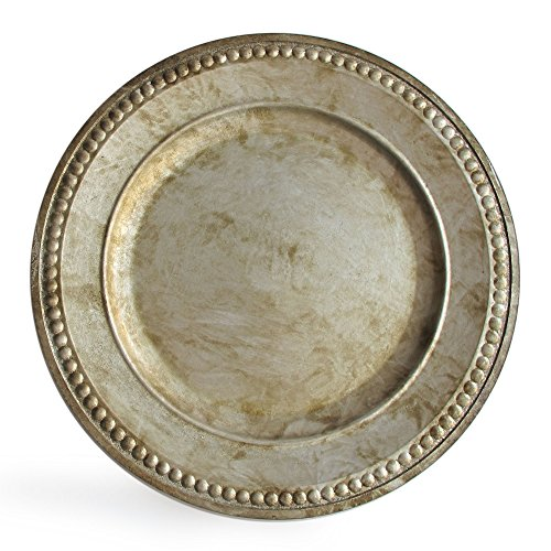 Charge It By Jay Randall Set Of 4 Charger Large Decorative Melamine Service Plate For Home Professional Fine Dining For Upscale Catering Events Dinner Parties 14 Rustic Silver 0 1