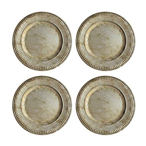Charge It By Jay Randall Set Of 4 Charger Large Decorative Melamine Service Plate For Home Professional Fine Dining For Upscale Catering Events Dinner Parties 14 Rustic Silver 0