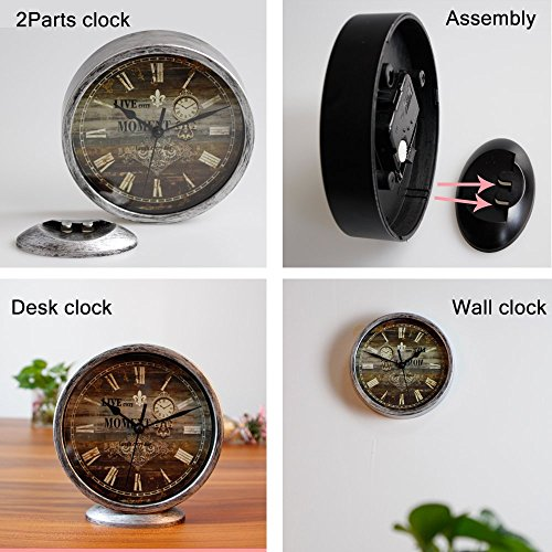 Classic Silent Desk Clock 6 Inch Non Ticking Decor Silver Wall Clocks Easy To Ready For Kitchen Bathroom Office 0 0