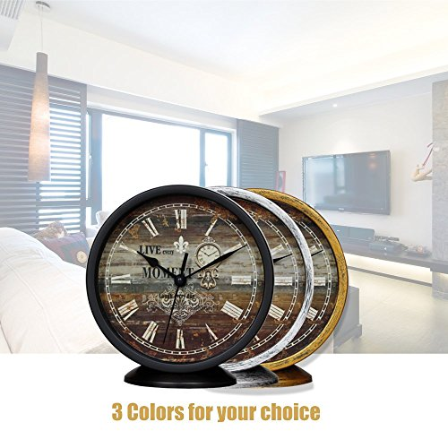 Classic Silent Desk Clock 6 Inch Non Ticking Decor Silver Wall Clocks Easy To Ready For Kitchen Bathroom Office 0 2