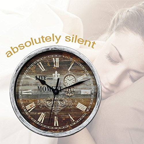 Classic Silent Desk Clock 6 Inch Non Ticking Decor Silver Wall Clocks Easy To Ready For Kitchen Bathroom Office 0