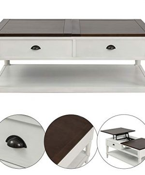 Coffee Tableqingyin Solid Wood Functional Cocktail Table Sofa Table WithTwo DrawersRectangular TV Table Solid Elegant Functional Table Hidden Compartment And A Liftable Table For Living Room Office 0 2 300x360