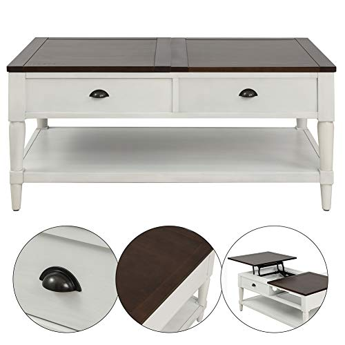Coffee Tableqingyin Solid Wood Functional Cocktail Table Sofa Table WithTwo DrawersRectangular TV Table Solid Elegant Functional Table Hidden Compartment And A Liftable Table For Living Room Office 0 2