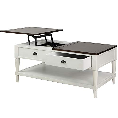 Coffee Tableqingyin Solid Wood Functional Cocktail Table Sofa Table WithTwo DrawersRectangular TV Table Solid Elegant Functional Table Hidden Compartment And A Liftable Table For Living Room Office 0 3
