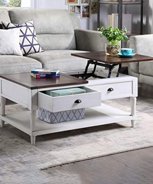Coffee Tableqingyin Solid Wood Functional Cocktail Table Sofa Table WithTwo DrawersRectangular TV Table Solid Elegant Functional Table Hidden Compartment And A Liftable Table For Living Room Office 0 300x360