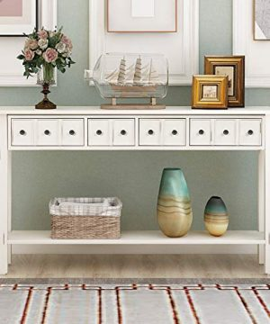 Console Table Rustic Entryway Table 60 Long Sofa Table With 4 Drawers In Two Different Size And Bottom Shelf For Storage Antique White 0 300x360