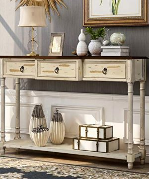 Console Table Sofa Table With 2 Drawers And Bottom Shelf Accent Solid Wood Console Table For Living Room Aisle Bathroom Farmhouse Hallway Retro Entryway Table Easy Assemble Antique White 0 300x360