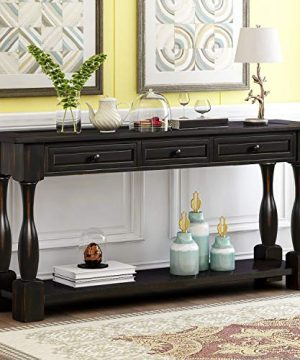 Console Table With Drawers And Shelf 64 Long Sofa Table Entryway Table For Entryway Living Room Hallway Antique Black 0 300x360