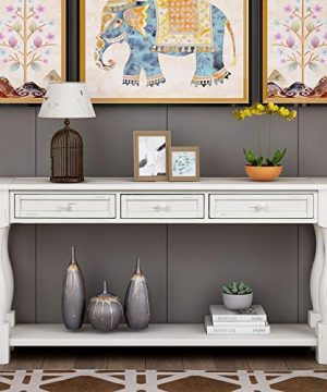 Console Table With Drawers And Shelf 64 Long Sofa Table Entryway Table For Entryway Living Room Hallway Antique White 0 0 300x360