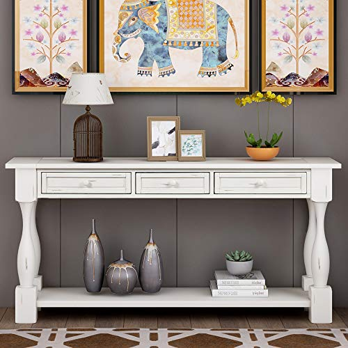 Console Table With Drawers And Shelf 64 Long Sofa Table Entryway Table For Entryway Living Room Hallway Antique White 0 0