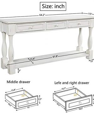 Console Table With Drawers And Shelf 64 Long Sofa Table Entryway Table For Entryway Living Room Hallway Antique White 0 1 300x360