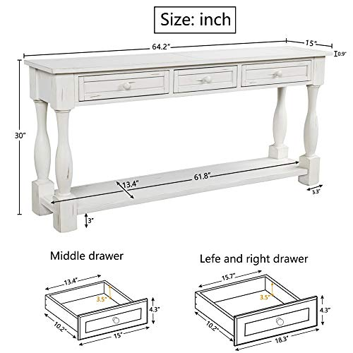 Console Table With Drawers And Shelf 64 Long Sofa Table Entryway Table For Entryway Living Room Hallway Antique White 0 1
