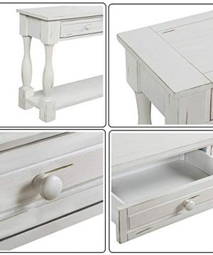 Console Table With Drawers And Shelf 64 Long Sofa Table Entryway Table For Entryway Living Room Hallway Antique White 0 4 300x360