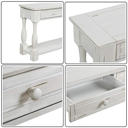Console Table With Drawers And Shelf 64 Long Sofa Table Entryway Table For Entryway Living Room Hallway Antique White 0 4