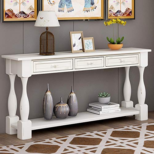 Console Table With Drawers And Shelf 64 Long Sofa Table Entryway Table For Entryway Living Room Hallway Antique White 0