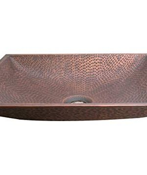 Copper Tailor 17 Inch Copper Bathroom Vessel Sink Above Counter For Vanity With Pop Up Drain StopperRectangular ShapeHandmade 0 300x357