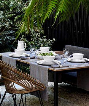 Costa Nova Friso Collection Stoneware Ceramic Dinner Plate 11 White 0 1 300x360