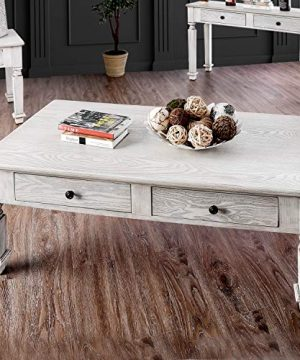 Country Antique White Coffee Table Foa Cream Farmhouse Transitional Rectangle Veneer Wood Finish Drawers Includes Hardware Solid 0 300x360