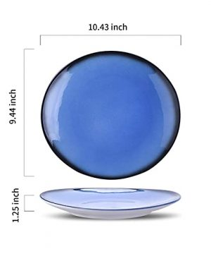 DUS Colorful Ceramic Dinner Plates Set 104 Inch Curved Dinnerware Set Platters Dishes For Restaurant Home Party Set Of 4 0 0 300x360